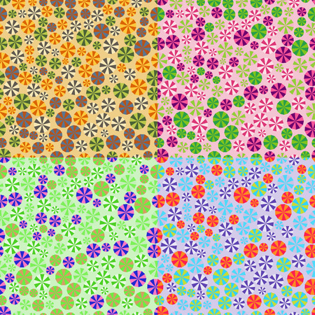 sectors: Seamless patterns set of polygons of different sizes with colored sectors