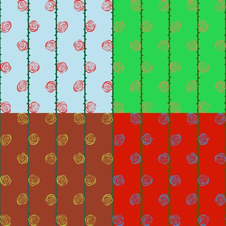 screen savers: Seamless set of abstract patterns of stylized flowers roses Illustration