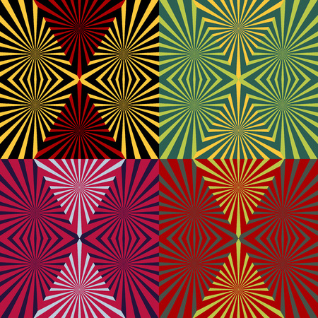 Set of seamless patterns of colored rays