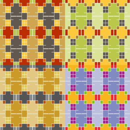 Seamless colorful set of symmetric patterns of rectangular geometric shapes Иллюстрация