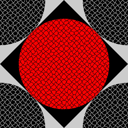 Seamless pattern of circles, which are covered with rough net Vector
