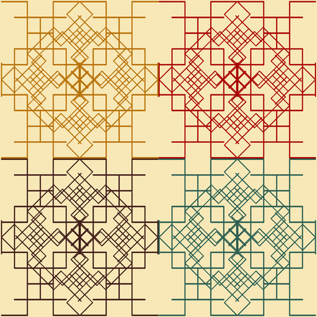 Set of seamless graphic symmetric patterns of rectangular geometric shapes Vector