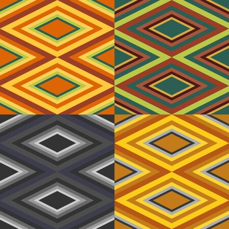 Abstract seamless pattern set with diamonds and stripes