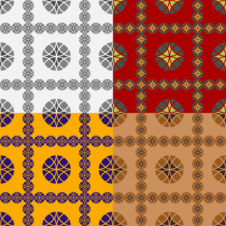 Set of seamless patterns based on circles of various sizes Vettoriali