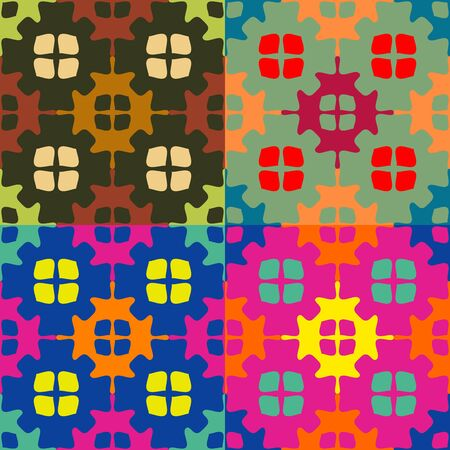 Set of seamless symmetric patterns of colored shapes with smooth angles