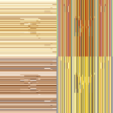 Set of abstract seamless background patterns with colored parallel stripes