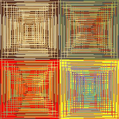 perpendicular: Set di astratto senza soluzione modelli di sfondo con parallelo colorato e strisce perpendicolari Vettoriali