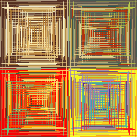 Set of abstract seamless background patterns with colored parallel and perpendicular strips