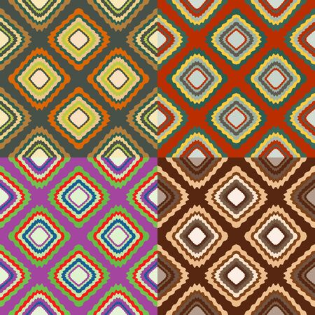 Set of seamless color patterns from distorted rectangles
