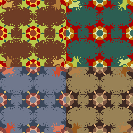 Set of seamless color patterns of abstract geometric shapes