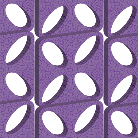 Seamless pattern with purple abstract plates with oval holes