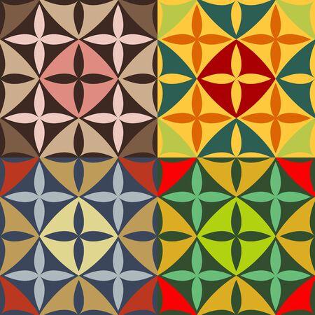 puntig: Set van naadloze kleurpatronen van de rechter wees ovalen Stock Illustratie