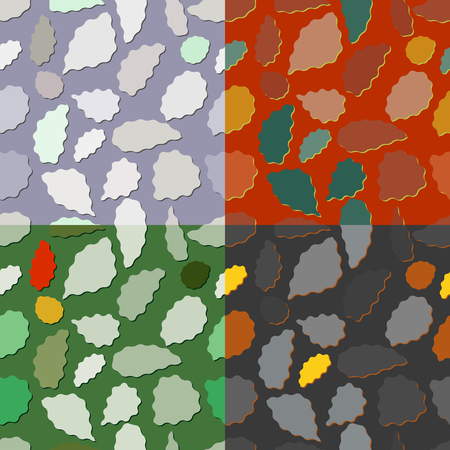 scalloped: Set of seamless color patterns with geometric wavy shapes