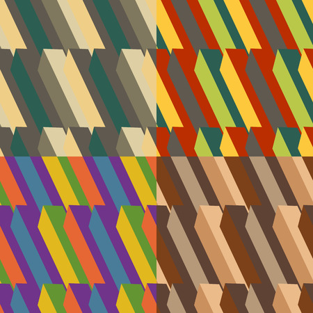 angled: Set of colored backgrounds abstract seamless angled stripes Illustration