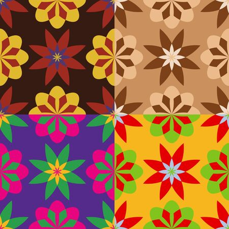 screen savers: Set of seamless patterns of stylized flowers of different shapes