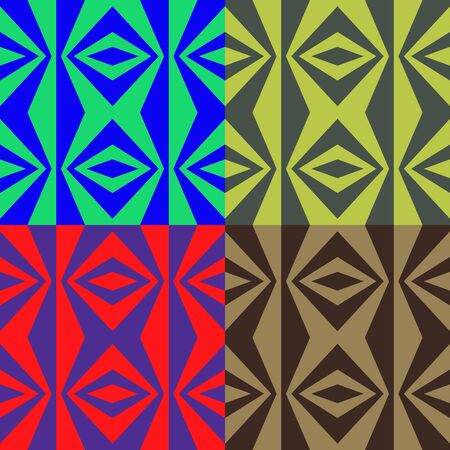 screen savers: Set of seamless color patterns of symmetrical triangular shapes and diamonds Illustration