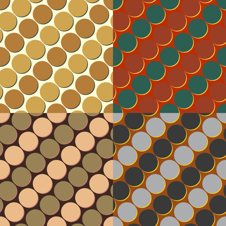 Set of seamless color vector backgrounds symmetrical circles with a drop shadow
