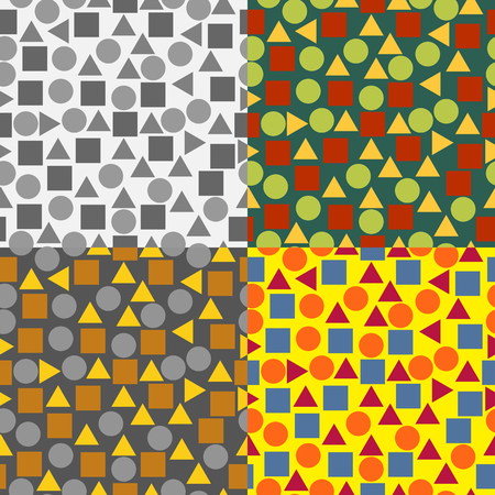 Set of seamless vector background with colored squares, circles and triangles