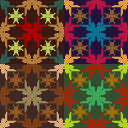 Set of seamless vector abstract color patterns