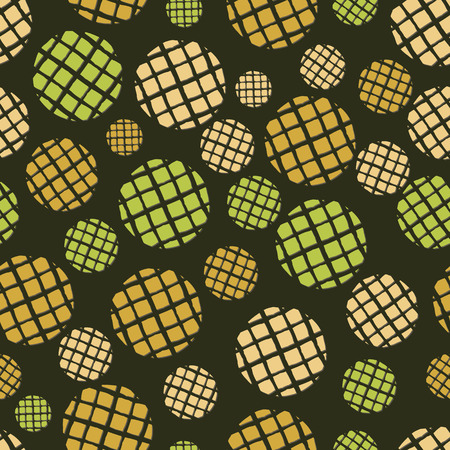 Abstract seamless pattern of irregular circles in shades of green