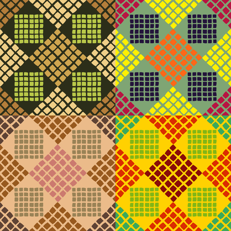 Seamless patterns from a set of colored squares of irregular shape