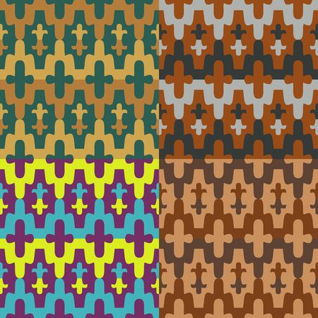 Set of seamless vector patterns made in the style of colour mosaic