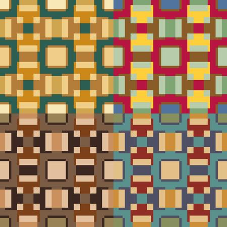 대칭 적으로 배열 된 컬러 사각형으로 이루어진 완벽한 벡터 패턴 세트