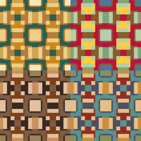 Set of seamless vector patterns made of colored rectangles arranged symmetrically