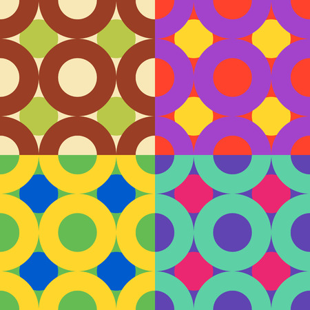 Set color of seamless patterns from the correct circles and rings 向量圖像