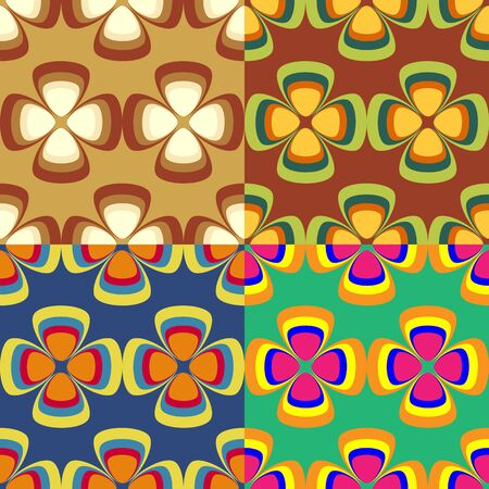 Set of colorful seamless patterns of stylized flowers with four petals