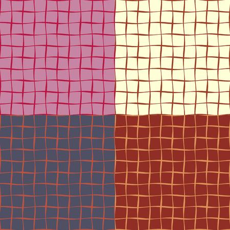 sides: Seamless patterns from a set of colored squares with wavy sides of different thickness Illustration