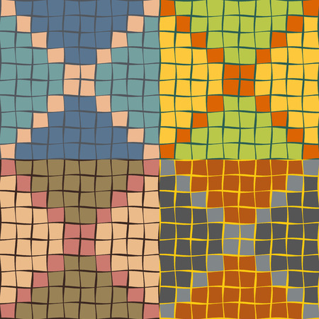 sinuous: Seamless patterns from a set of colored squares with wavy sides of different thickness Illustration