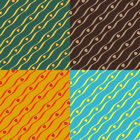 Set color of seamless patterns of wavy lines of different thickness 向量圖像