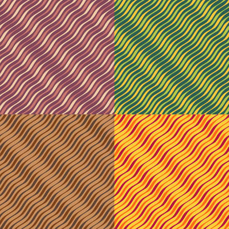 winding: Set color of seamless patterns of wavy lines of different thickness Illustration