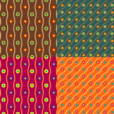 monophonic: Set color of seamless patterns from the rings and circles on a monophonic background Illustration