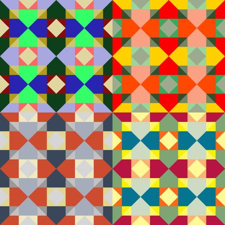 모방 스테인드 글라스와 컬러 사각형 세트에서 원활한 패턴