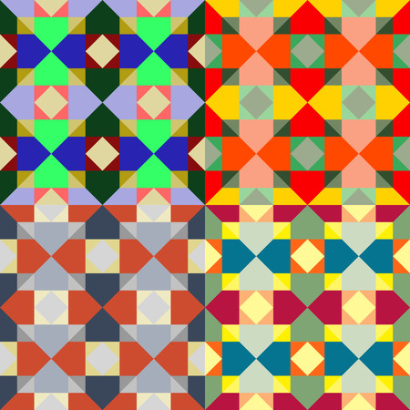 Seamless patterns from a set of colored squares with imitation stained glass