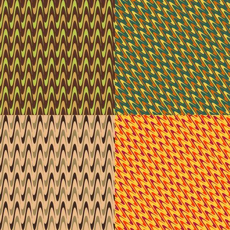 thickness: Set of colored abstract patterns of seamless corrugated strips of different thickness Illustration