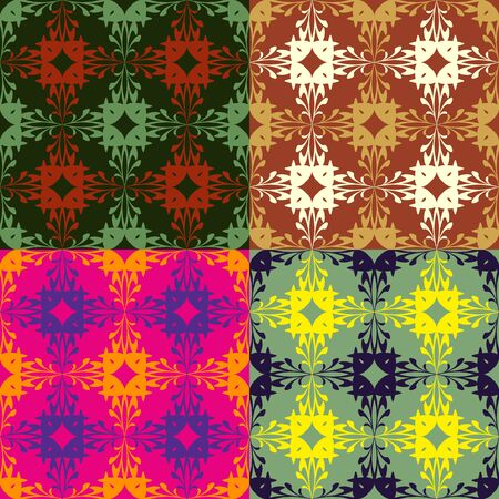 monophonic: Set of seamless floral patterns on a monophonic background