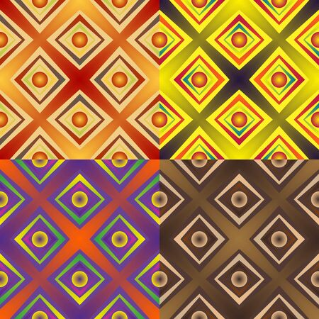 width: Set color of seamless patterns of geometric shapes and strips of different width with balls