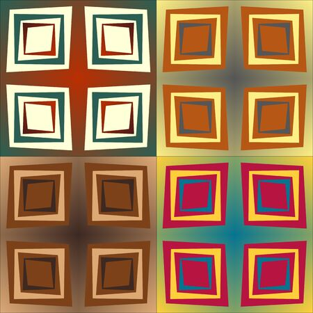 Set color of seamless patterns of geometric shapes and strips of different width