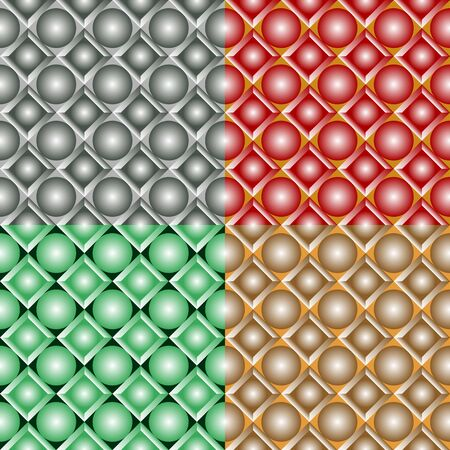 Seamless patterns from a set of colored squares with balls Ilustração