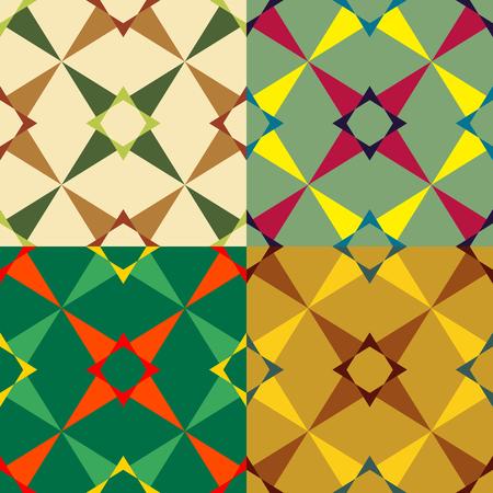 Set color of seamless geometric pattern of symmetrical shapes Ilustração