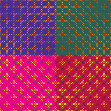 Set color of seamless geometric patterns of spiky crosses