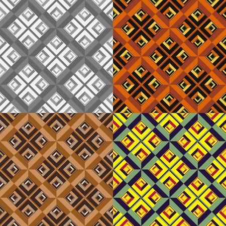 Set color of seamless geometric patterns of symmetric squares Ilustrace