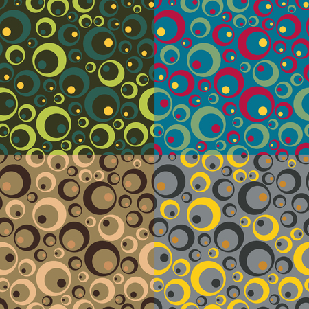 Set color of seamless patterns from chaotic circles of various sizes Vector
