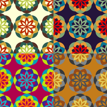 Seamless patterns from a set of colored symmetric stylized flowers