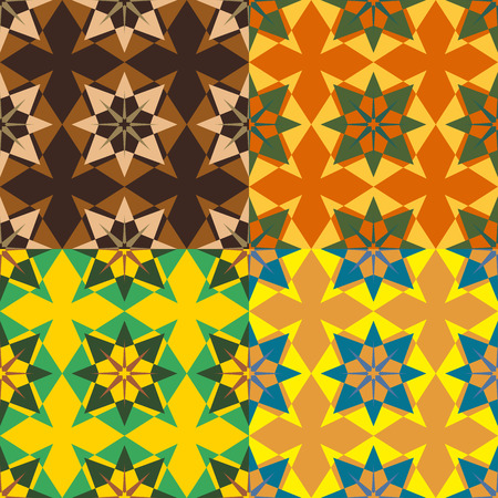 Set color of seamless vector patterns of symmetrical abstract geometric shapes
