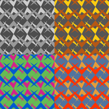 symmetrical: Set color of seamless vector patterns of symmetrical abstract duplicate polygons