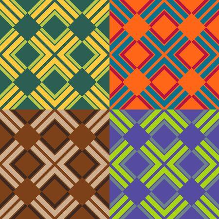 色の四角形のシームレス パターンのセット  イラスト・ベクター素材